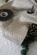 ★SALE・30★ クリスマスオーナメント♪ (幅広ワイヤーリボン・ジャガードベージュ系) 輸入リボン シャビーシック フレ