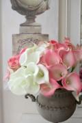 瑞々しいカラーのブーケ(9本)ホワイト・ピンク 造花 カラー アーティフィシャルフラワー シルクフラワー 【輸入雑貨、シ