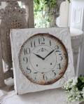 ホワイトスチール・ウォールクロック 掛時計 クォーツ時計 白色 シャビーシック フレンチカントリー アンティーク 雑貨 アン