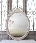 ★フランス直輸入★ Coquecigrues コクシグル フランス★ リボンミラー オーバル MIVE Pierre Usee アンティークホワイト 壁掛けミ