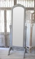 カントリーコーナー 【Country Corner】 ROMANCE ロマンスコレクション・フレンチグレー スタンド付き姿見ミラー スタンドミラー