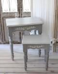 カントリーコーナー 【Country Corner】 ROMANCE ロマンスコレクション・フレンチグレー ネストテーブル 2個セット 白家具 フラ