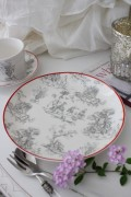 トワルドジュイのフランス食器 カントリーコーナー 【ケーキプレート】 ケーキ皿 中皿 カフェ食器 白い食器 輸入食器 シャビーシ