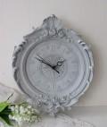 フレンチグレーのデコラティブ掛け時計 フレンチシック 輸入雑貨 アンティーク風 雑貨 シャビーシック フレンチカントリー 姫系