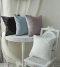 刺繍が素敵なクッションカバー (ベルベット 4色) 45cm角 フレンチシック 輸入雑貨 アンティーク風 シャビーシック フレンチカ