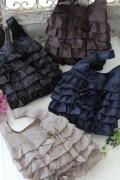 フレンチキュートなフリルエコバッグ♪♪ サブバッグ ポリエステル製 8色有り(ベージュ、ブラウン、ネイビー、ブラック) 袋