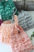 フレンチキュートなフリルエコバッグ♪♪ サブバッグ ポリエステル製 8色有り(グレージュ、グリーン、ベビーピンク、ピンク)
