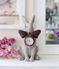 リボンラビットの置時計 ウサギの時計 置き時計 シャビーシック 姫系 アンティーク 雑貨 アンティーク風 antique