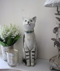 愛くるしい猫の置物(ストライプレッグ) ネコ雑貨 アンティーク 雑貨 アンティーク風 姫系 輸入雑貨  シャビーシック antique