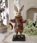 ダイヤチェックラビット・クロック ウサギの置時計 置物 シャビー 北欧 フレンチ ロマンティック アリス 可愛い ロココ