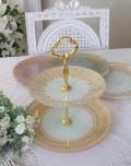 トリアノン・ガラス食器 2段プレートスタンド ガラス製 アフタヌーンティスタンド アンティーク風 アンティーク 食器 雑貨 a