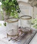 猫足のアンティークなグラスポット(2種D、E) 小物入れ 花瓶 ペン立て  フレンチカントリー アンティーク 雑貨 輸入雑
