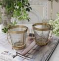 猫足のアンティークなグラスバケット(取っ手付きA、B) 小物入れ 花瓶 ペン立て  フレンチカントリー アンティーク 雑貨
