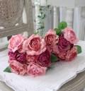 モーブミックス・ローズブーケ9輪 【シルクフラワー・アーティフィシャルフラワー】 薔薇 造花