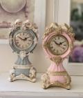 フレンチリュバンシリーズ♪♪ 【置時計・ピンク/グレー】 置き時計 輸入雑貨 アンティーク調 アンティーク 雑貨 アンティーク風