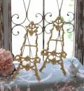 イタリア製 ブラスイーゼル S 真鍮 アンティークゴールド イーゼル 小型 プレートホルダー アンティーク風 雑貨 姫系