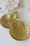 イタリア製 ブラスシェルトレイ 灰皿 小物入れ 真鍮 アンティークゴールド アンティーク antique アンティーク風