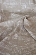 フランス製 リネンベージュのトワルドジュイ柄 輸入生地 MFTA社 麻100% フレンチリネン  輸入生地 カーテン生地