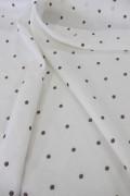 フランス製 STOF社 フレンチリネン 麻100% ホワイト×ベージュ刺繍ドット 水玉  輸入生地 カーテン生地 テーブルクロス ファブ