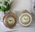 ロココシリーズ♪♪ 【レリーフ置時計・2色有り(アイボリー・ゴールド) 置時計 テーブルクロック 輸入雑貨 アンティーク調 アン