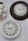 シャビーなアイアン掛け時計 (ホワイト・ブラウン) アンティーク 雑貨 掛け時計 ウォールクロック アンティーク風 シャビーシッ