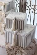トワルドジュイの収納ボックス2個セット(グレー)♪ 当店オリジナル・布張りシリーズ トワル・ド・ジュイ カルトナージュシ