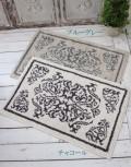 アラベスク柄のラグマット(ブルーグレー、チャコール) 52×83cm 綿100% バスマット コットンラグ 絨毯 玄関マット