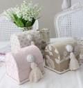 コロンと可愛いドーム型のカルトナージュBOX(キルティング、ベージュフラワー、ピンクダマスク) 布張りBOX 小物入れ 収納BO