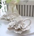 陶花の美しい陶器製・キャンドルホルダー【ホワイト】 キャンドルスタンド・薔薇・輸入雑貨