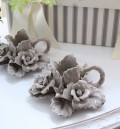 陶花の美しい陶器製・キャンドルホルダー【グレー】 キャンドルスタンド・薔薇・輸入雑貨
