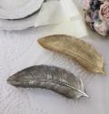 フェザーモチーフの小物トレイ(ゴールド・シルバー) 羽モチーフ 置物 シャビーシック フレンチカントリー アンティーク 雑