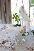 癒しのホワイトラメ・ツインバード 2個セット フレンチカントリー フレンチ雑貨 バードオブジェ 小鳥の置物 クリップ式