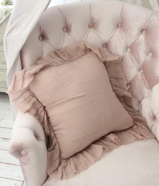 シャビーシックなリネンのクッションカバー♪♪ 【リネンフリルクッションカバー・ピンク 45cm角(フラター)】 リネン100% 布製