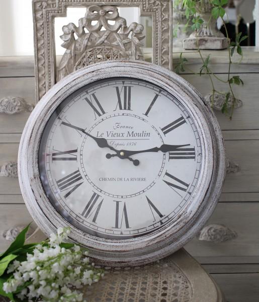 シャビーホワイトのフレンチ掛け時計(フランスロゴ) アンティーク 雑貨 掛け時計 ウォールクロック アンティーク風 シャビー