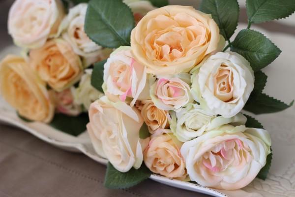 ピンクピーチローズブーケ9輪 【シルクフラワー・アーティフィシャルフラワー】 ピンク パープル ワイン 薔薇 造花