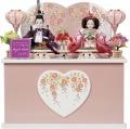 プリンセス雛人形,ピンクハート刺繍,親王飾り,収納飾り