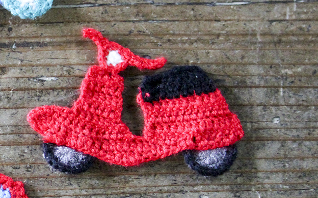かぎ針編みモチーフ バイク メール便可
