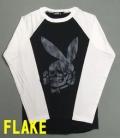 【FLAKE】フレイク 【ラグランロンT】 ラビット【スカル】