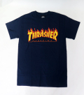 【THRASHER/スラッシャー】 Tシャツ/ファイヤーロゴ ネイビー/Sサイズ