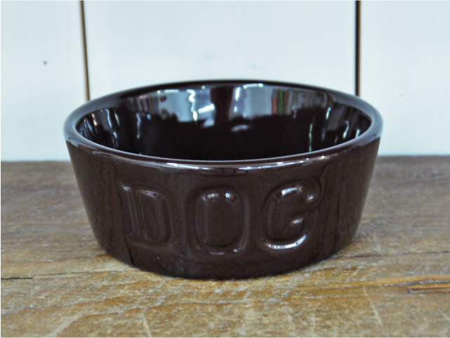 BAUER POTTERY バウワーポテリー DOGBOWL S・チョコレート