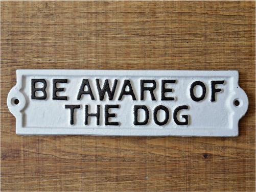 アメリカンサインボード 「BEWARE OF THE DOG」 (猛犬注意!) 鋳物製プレート