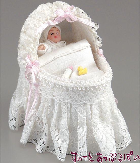 【ロイターポーセリン】 白いレースのゆりかご 赤ちゃん付き RP1776-5