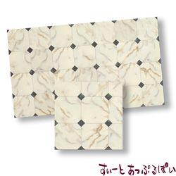【スペイン製】 ドールハウス用タイルシート 大理石 ブラックダイヤ x ホワイト 245x140 mm WM34724