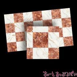 【スペイン製】 ドールハウス用タイルシート 大理石 ブラウン x ホワイト 245x140 mm WM34726