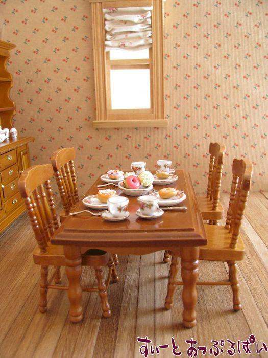 ミニチュアダイニングテーブルセット 長方形卓+椅子4脚 クルミ色 MTCG208-7W