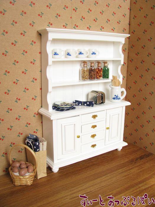 ミニチュア食器棚 ピュアホワイト MTCG147-10H