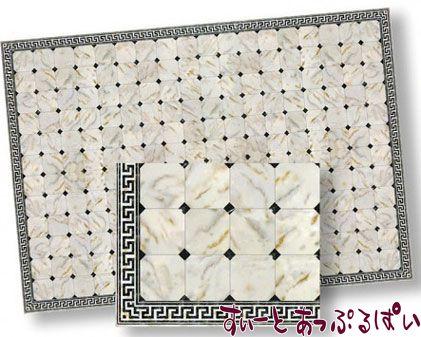 【1/24サイズ】【スペイン製】 ドールハウス用 大理石シート ブラックダイヤ x アイボリー  207 x 134 mm WM24735