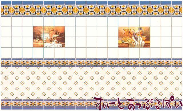 【1/24サイズ】【スペイン製】 ドールハウス用タイルシート 地中海タイル 138x83mm WM24004