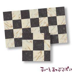 【スペイン製】 ドールハウス用タイルシート 大理石 ホワイトxブラック 245x140 mm WM34722