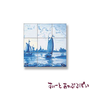 【スペイン製】 ドールハウス用 アクセントタイルシート 帆船 40x40mm WM34874